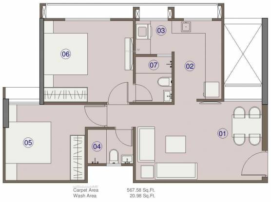 Saanvi Celesta (2BHK+2T (567.58 sq ft) Apartment 567.58 sq ft)