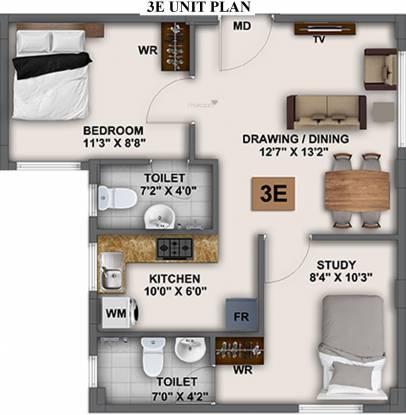 Baashyam La Chalet Smart Homes Block 3 (2BHK+2T (539.92 sq ft) Apartment 539.92 sq ft)