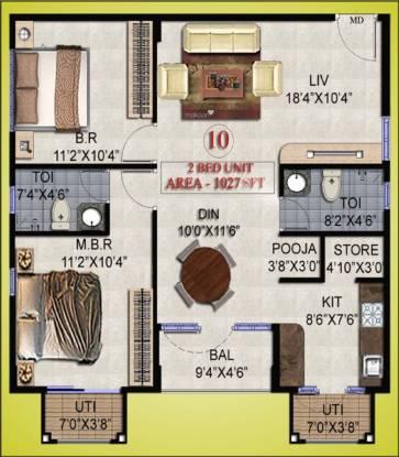 Daivik Prasad (2BHK+2T (1,027 sq ft) + Pooja Room Apartment 1027 sq ft)