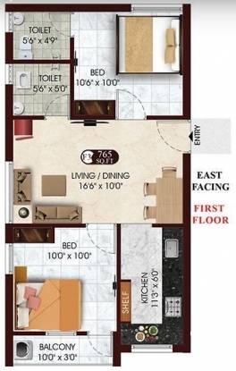 DAC Raayar Kudil (2BHK+2T (765 sq ft) Apartment 765 sq ft)