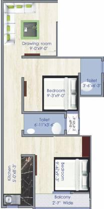 HomeSaar Shree Shyam Apartments (2BHK+2T (530 sq ft) Apartment 530 sq ft)