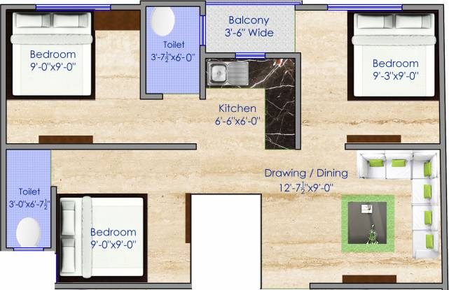 HomeSaar Shree Shyam Apartments (3BHK+2T (650 sq ft) Apartment 650 sq ft)