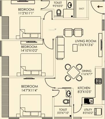 Colistaa Sri Ramaa Nilaya (3BHK+2T (1,137 sq ft) Apartment 1137 sq ft)