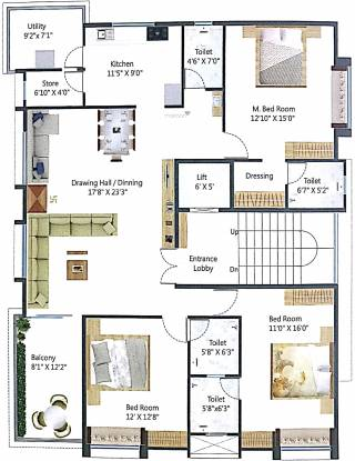 Gandhi Arcadia (3BHK+4T (1,950 sq ft) + Pooja Room Apartment 1950 sq ft)