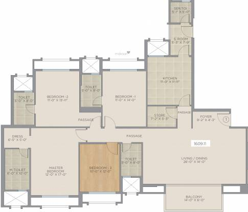 Hiranandani Glendale (4BHK+4T (1,609.10 sq ft) Apartment 1609.1 sq ft)