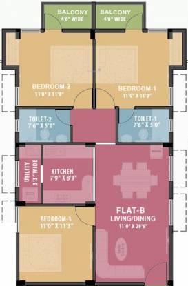 Ramaniyam Mandhagini (3BHK+3T (1,155 sq ft) Apartment 1155 sq ft)
