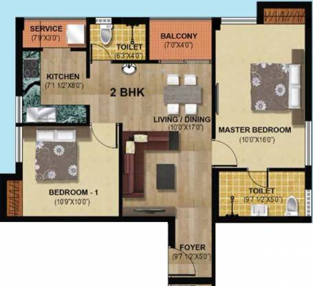 Hari Aadhini (2BHK+2T (926 sq ft) Apartment 926 sq ft)