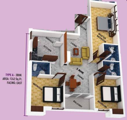 Hari Aadhini (3BHK+3T (1,242 sq ft) Apartment 1242 sq ft)