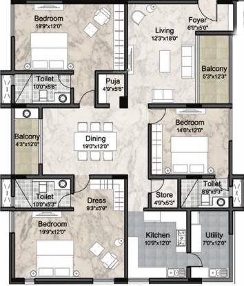 Krishna The Headquarters (3BHK+3T (2,571 sq ft) + Pooja Room Apartment 2571 sq ft)