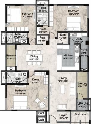 Krishna The Headquarters (3BHK+3T (2,544 sq ft) + Pooja Room Apartment 2544 sq ft)