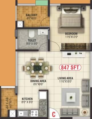 Nishchith Homes (1BHK+1T (847 sq ft) Apartment 847 sq ft)