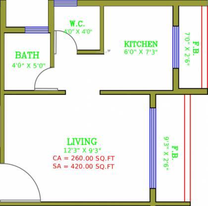 Seven Heaven Satyam Plaza (1RK+1T (420 sq ft) Apartment 420 sq ft)