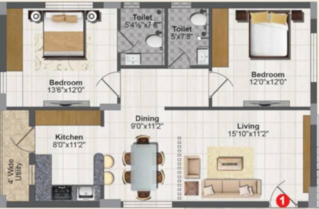 Rami Radha Krishna Towers (2BHK+2T (1,186 sq ft) Apartment 1186 sq ft)