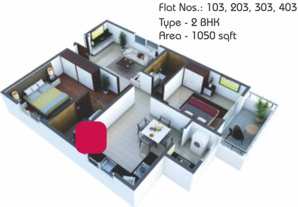 AV6 Trayam (2BHK+2T (1,050 sq ft) Apartment 1050 sq ft)