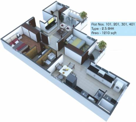 AV6 Trayam (2BHK+2T (1,210 sq ft) + Study Room Apartment 1210 sq ft)