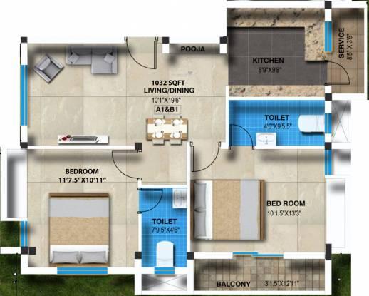 Sreenivas Subadra Nivas (2BHK+2T (1,032 sq ft) + Pooja Room Apartment 1032 sq ft)