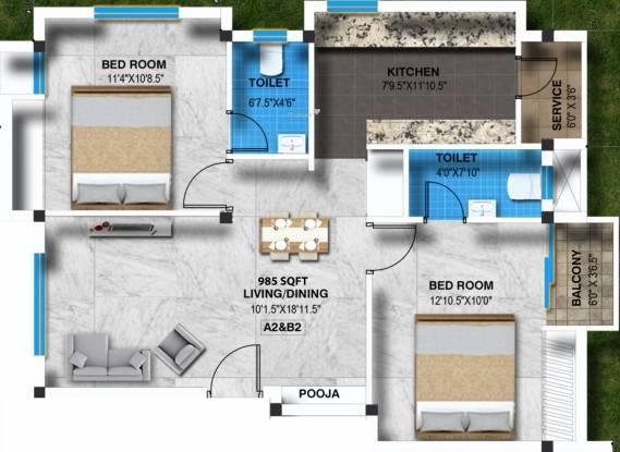 Sreenivas Subadra Nivas (2BHK+2T (985 sq ft) + Pooja Room Apartment 985 sq ft)