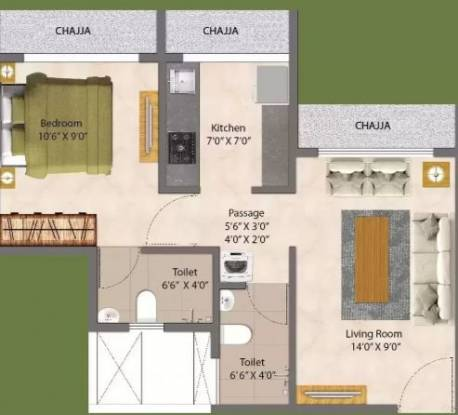 GeeCee Aspira 206 (1BHK+1T (324.32 sq ft) Apartment 324.32 sq ft)