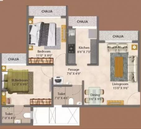 GeeCee Aspira 206 (2BHK+2T (498.80 sq ft) Apartment 498.8 sq ft)