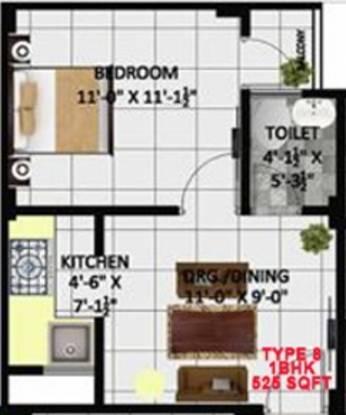 Kritak Rzone Homes (1BHK+1T (525 sq ft) Apartment 525 sq ft)