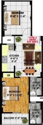 Kritak Rzone Homes (2BHK+2T (825 sq ft) Apartment 825 sq ft)