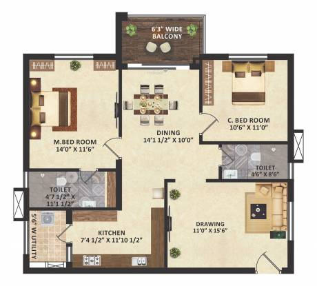 GreenMark Mayfair Apartments (2BHK+2T (1,261 sq ft) Apartment 1261 sq ft)