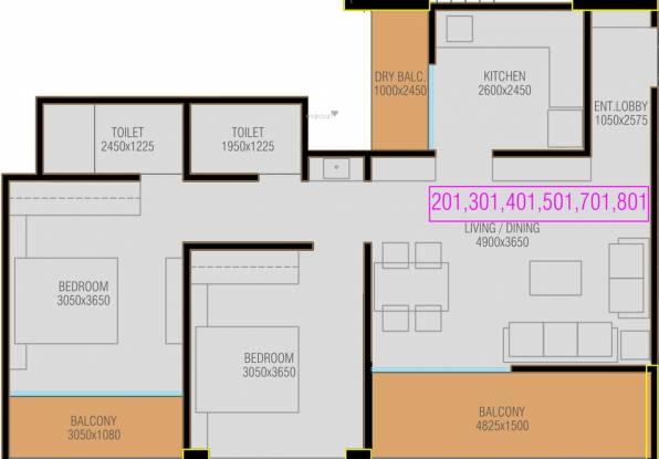 Mantra 99 Riverfront (2BHK+2T (674.90 sq ft) Apartment 674.9 sq ft)