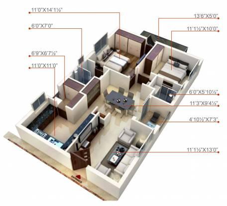 Sri Gayathri Gayatri Tower (2BHK+2T (1,121 sq ft) Apartment 1121 sq ft)