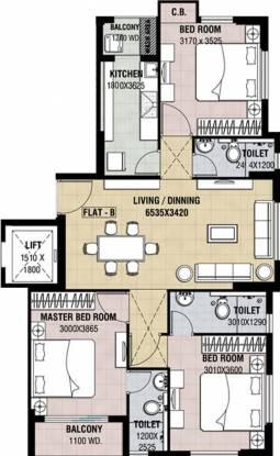 Yaduka Shree Krishna Tower I (3BHK+3T (1,378 sq ft) Apartment 1378 sq ft)