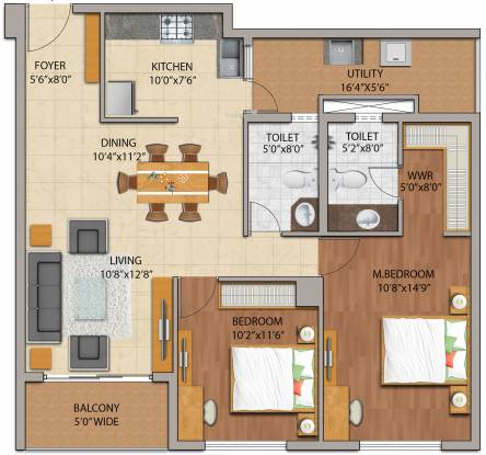 Adarsh Palm Retreat Mayberry Phase 1 (2BHK+2T (1,230 sq ft) Apartment 1230 sq ft)