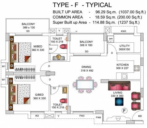 Builtech Pavilion (2BHK+2T (1,237 sq ft) Apartment 1237 sq ft)