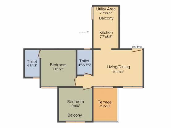 Adi Aventura (2BHK+2T (662 sq ft) Apartment 662 sq ft)