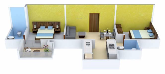 Gaikwad Miro (2BHK+2T (644 sq ft) Apartment 644 sq ft)