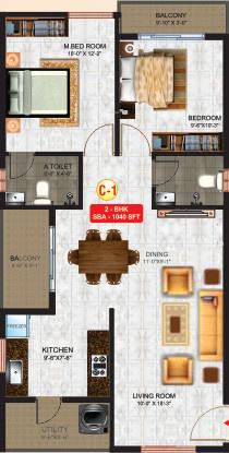 KVR Sai Krishna Residency (2BHK+2T (1,040 sq ft) Apartment 1040 sq ft)
