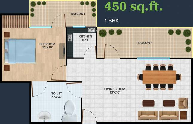 Revanta Diplomatic Greens (1BHK+1T (450 sq ft) Apartment 450 sq ft)