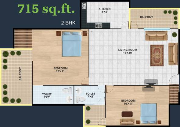 Revanta Diplomatic Greens (2BHK+2T (715 sq ft) Apartment 715 sq ft)