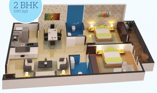 Sri Sway Symphony (2BHK+2T (1,190 sq ft) Apartment 1190 sq ft)