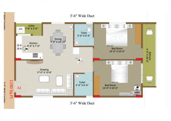 Sri Sway Symphony (2BHK+2T (1,230 sq ft) Apartment 1230 sq ft)