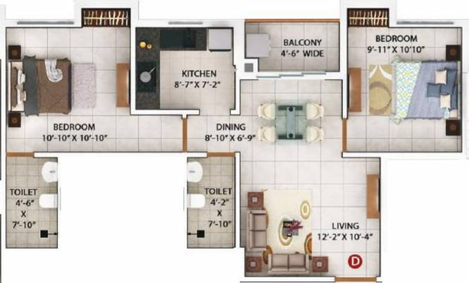 Merlin Pristine (2BHK+2T (728 sq ft) Apartment 728 sq ft)