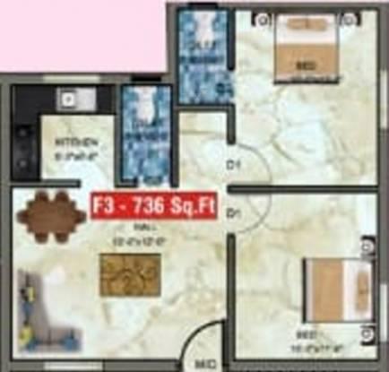Shantha Flats (2BHK+2T (736 sq ft) Apartment 736 sq ft)