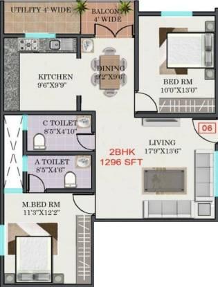 R Mountrose Apartment (2BHK+2T (1,296 sq ft) Apartment 1296 sq ft)