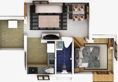 Chathamkulam Kadambari (1BHK+1T (538.1 sq ft) Apartment 538.1 sq ft)