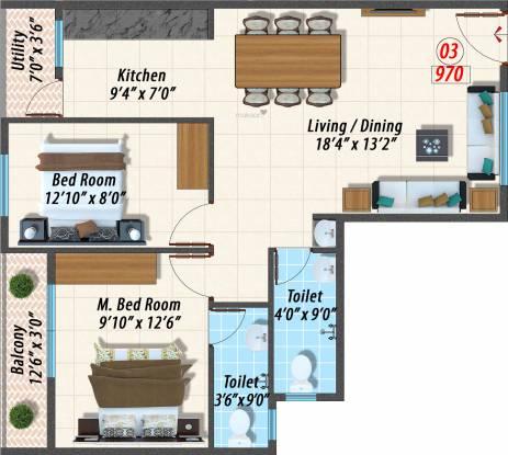 Opera Canopus (2BHK+2T (970 sq ft) Apartment 970 sq ft)
