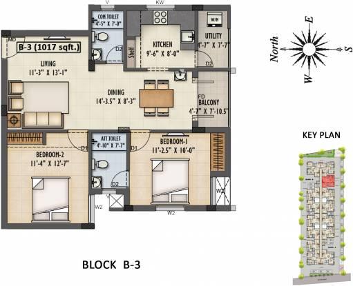 Ruby Nakshatra (2BHK+2T (1,017 sq ft) Apartment 1017 sq ft)