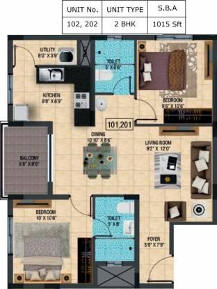 BSCPL Violet (2BHK+2T (1,015 sq ft) Apartment 1015 sq ft)