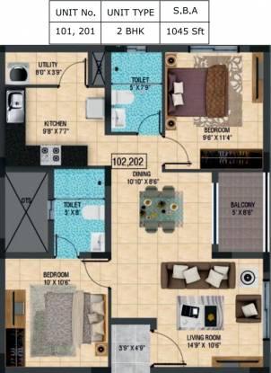 BSCPL Violet (2BHK+2T (1,045 sq ft) Apartment 1045 sq ft)