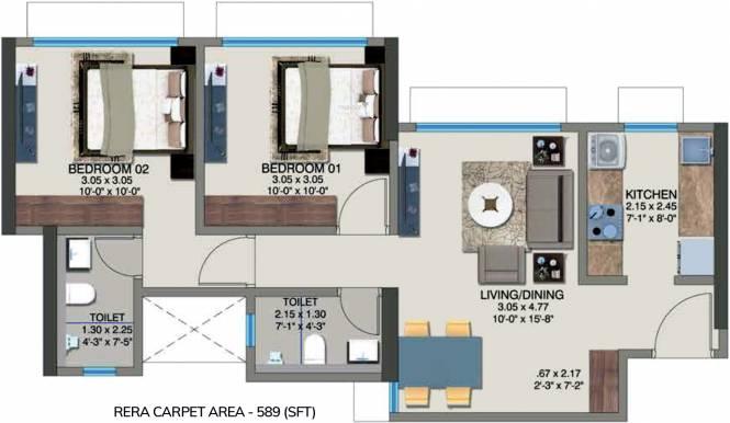 Kanakia Pixel (2BHK+2T (589 sq ft) Apartment 589 sq ft)
