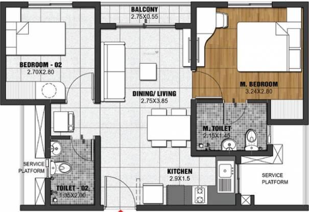 Brigade Gallium At Brigade El Dorado (2BHK+2T (795 sq ft) Apartment 795 sq ft)