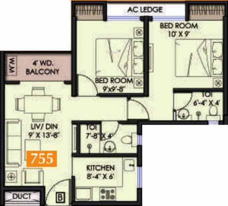 Shrachi Solis Phase I Renaissance (2BHK+2T (755 sq ft) Apartment 755 sq ft)