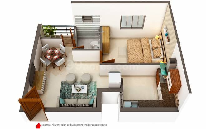 Artha Neo Smart City (1BHK+1T (589 sq ft) Apartment 589 sq ft)